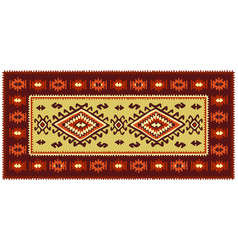 Colorful oriental mosaic rug with traditional folk vector