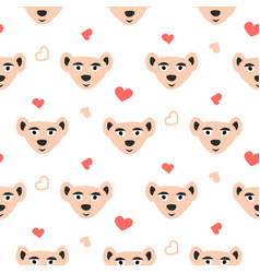 cute bear pink fun seamless pattern for kids and vector image