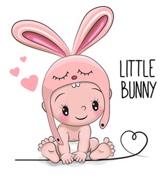 Cute cartoon baby boy in a bunny hat vector