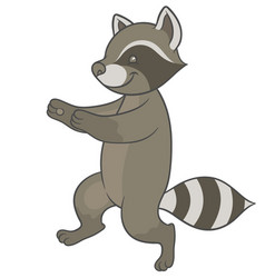 Cute cartoon raccoon fun runs forward vector