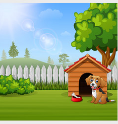 Cute dog sitting in front of a kennel in a garden vector