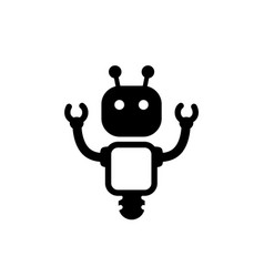 cyber robot icon black style vector image