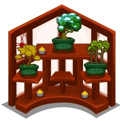 Decorative wooden shelf with small trees in pot vector