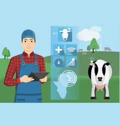 Farmer with digital tablet on a cattle grazing vector