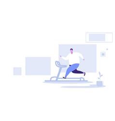 fat obese man running on treadmill oversize fatty vector image