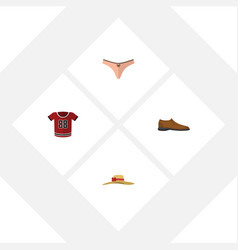 Flat dress set of male footware t-shirt elegant vector
