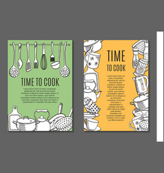 Flyers with kitchen ware vector