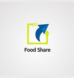 food share logo icon element and template for vector image