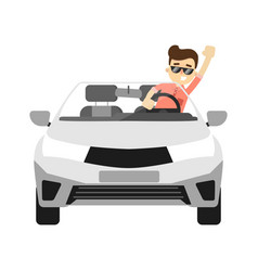Front view car with smiling driver vector