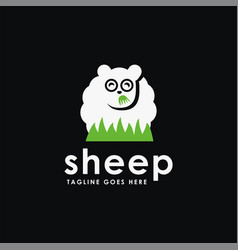 fun sheep eating grass logo icon template vector image
