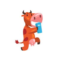 Funny brown cow with carton milk farm animal vector