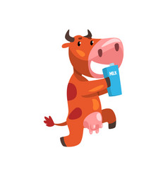 Funny brown cow with carton of milk farm animal vector