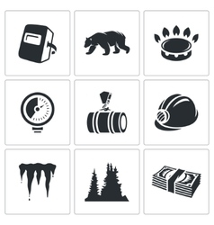 Gas transit Icons Set vector
