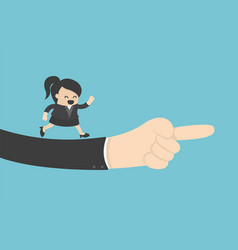 Giant hand helping and pointing businesswoman vector