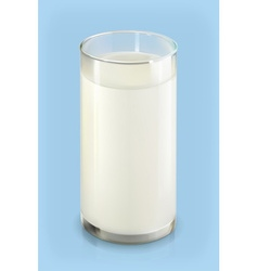 Glass of milk object on blue background vector