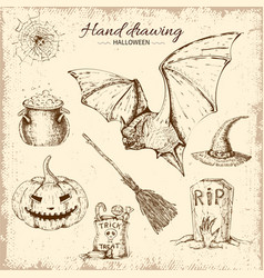 halloween hand drawn design vector image