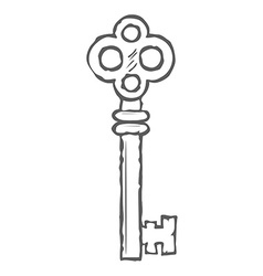 Hand Drawn Key isolated on white background vector image vector image