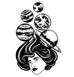 hand drawn of planets and girl surreal artwork vector image
