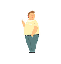 handsome overweight man dressed jeans and shirt vector image