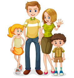 Happy family character on white background vector