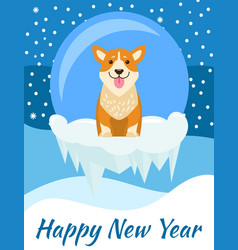 Happy new year postcard with cute beige dog vector