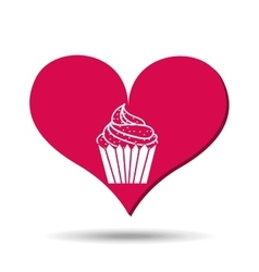 Heart red cartoon silhouette cupcake icon design vector