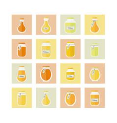 Honey jars icons set vector