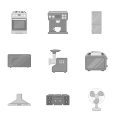 Household appliances set icons in monochrome style vector