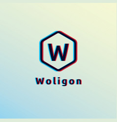 Initial letter w logo hexagon shape with glitch vector