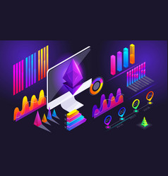 isometric holographic diagrams graphs finance vector image