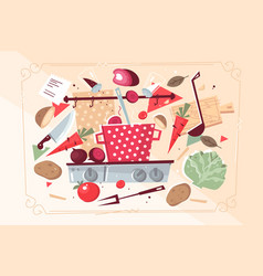 kitchen pattern with food and kitchenware vector image