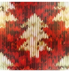 Knitted texture with christmas tree images on red vector