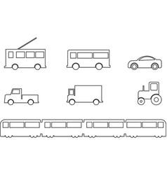 Land transport vehicles set outline vector