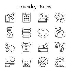 Laundry icon set in thin lline style vector