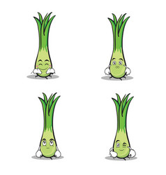 Leek character cartoon set collection vector