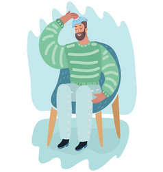 man holding hot-water bottle on his head migraine vector image