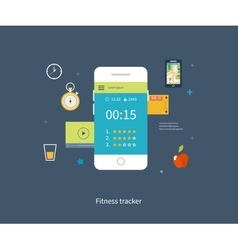 mobile phone - fitness app concept on vector image