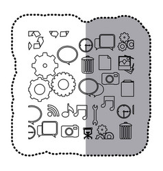 Monochrome contour sticker with computer icons vector