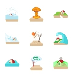 Natural emergency icons set cartoon style vector