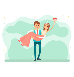 newlywed couple bride and groom on wedding day vector image