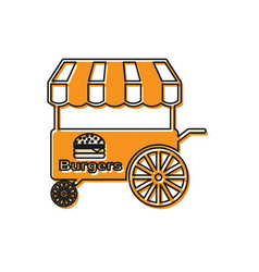 Orange fast street food cart with awning icon vector