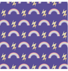 pattern of rainbow with thunderbolts vector image