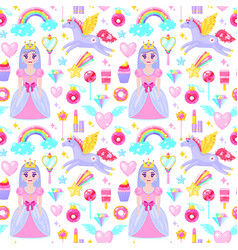 pattern with cute princess vector image