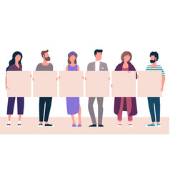 people holding blank white banner vector image