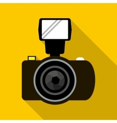 Photo camera with flash icon flat style vector image