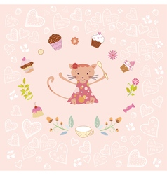Pink birthday card vector