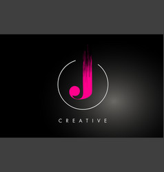 Pink j brush stroke letter logo design pink paint vector
