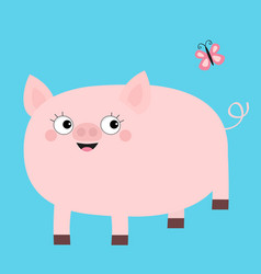 pink pig looking at butterfly smiling face cute vector image