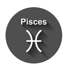 pisces zodiac sign flat astrology on white vector image