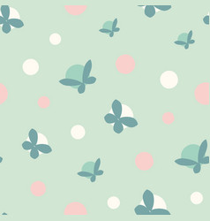 Polka dots and butterflies seamless pattern vector